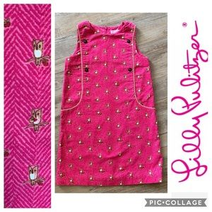 Lilly Pulitzer Shift Dress Corduroy Pink Owls